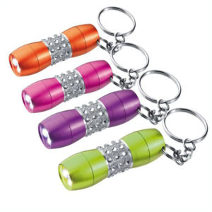 Aluminium 3 LED Torch Keyring with Gemstones