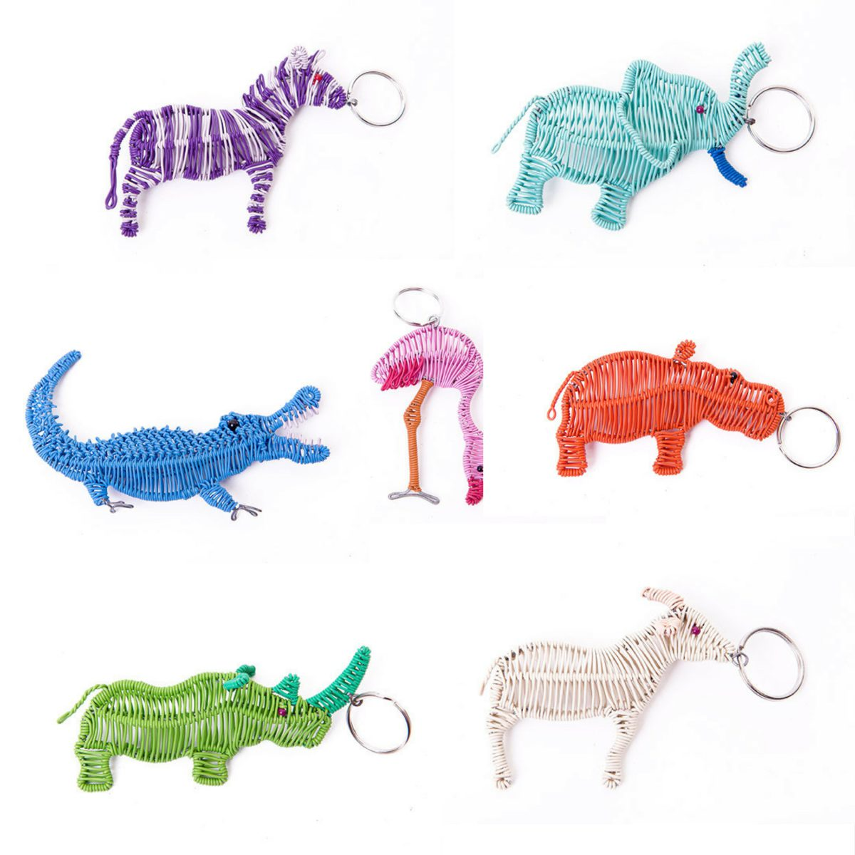 Assorted African Animals Wire Keyrings - Grayhouse