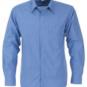 Micro Check Long Sleeve Shirt Mens Blue