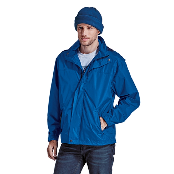 Blue Jacket with Hood Front View