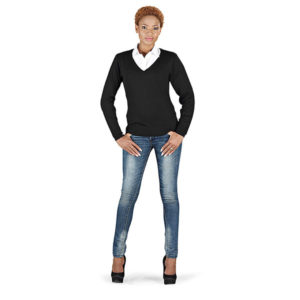 Trenton V-Neck Sweater Ladies Black