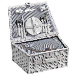 Wicker Picnic Basket for Four White
