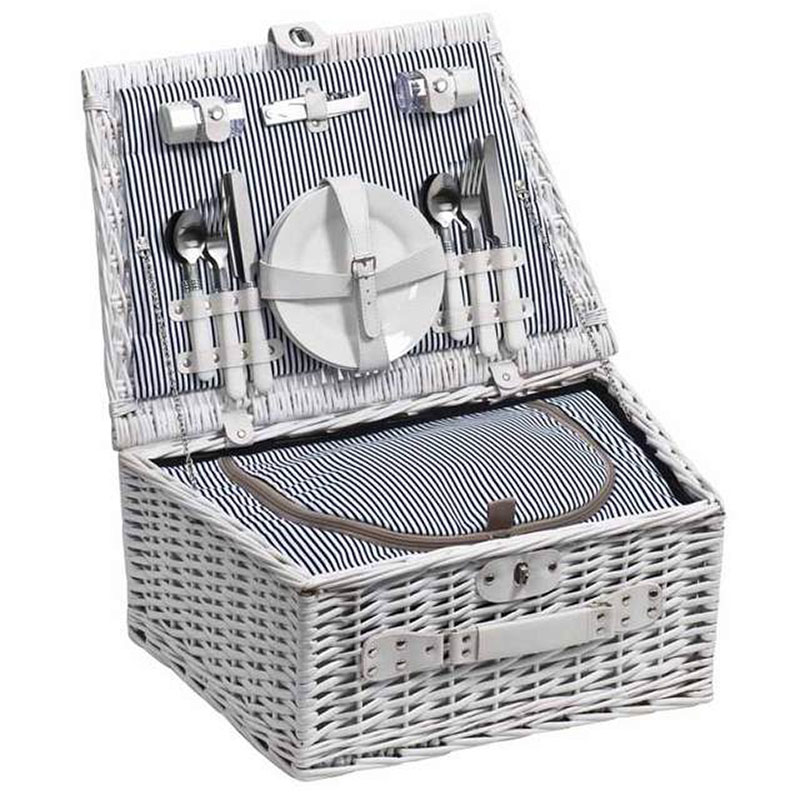 Wicker Picnic Basket For 4 Gray House Promotions